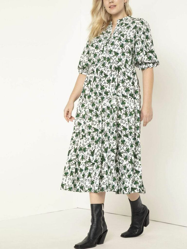 Green and white floral print midi cottagecore dress with ruffled short sleeves