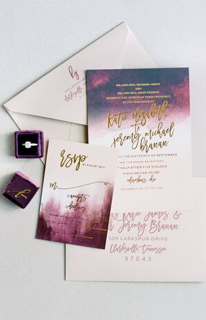 Purple Invitation Suite with Ombre Watercolor and Gold Foil Calligraphy