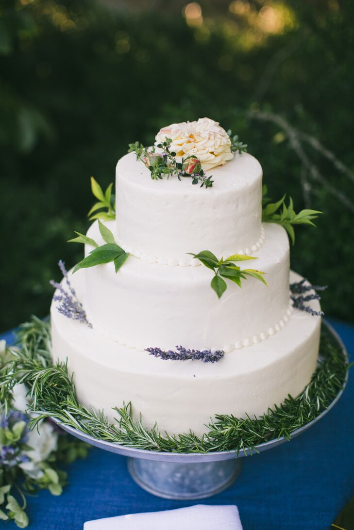 Round Tiered Cake with Lavender and Rosemary Decoration