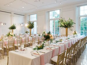 Romantic, Simple Place Settings with Pink Linens and Chiavari Chairs