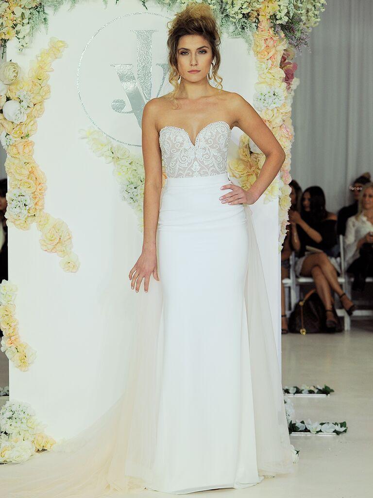 Julie Vino Fall 2018 strapless wedding dress with detachable train