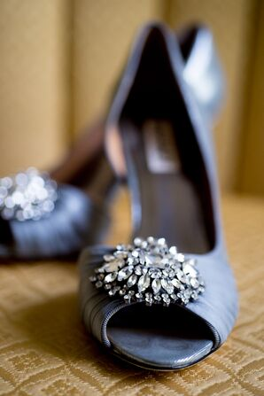 Silver Gray Shoes Topped With Crystals