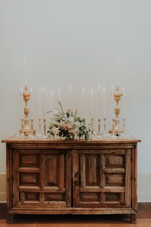 Antique Wood Sideboard with Taper Candles