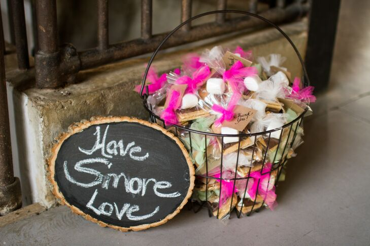 Guests were treated with edible s'more favors with the saying, Have s'more love.