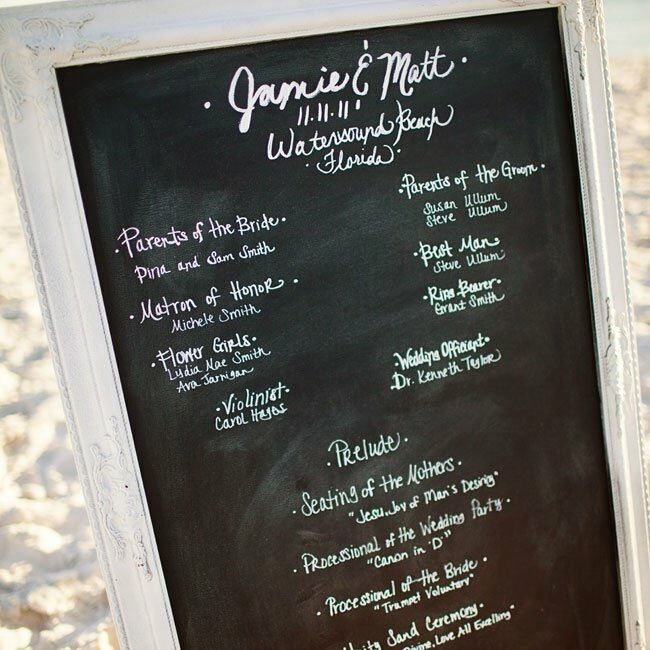A large chalkboard served as a simple ceremony program.