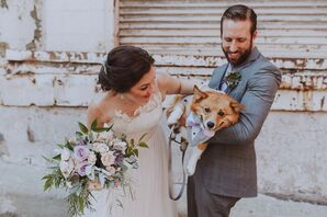 The Couple with Dog Dressed in a Vest and Bow Tie