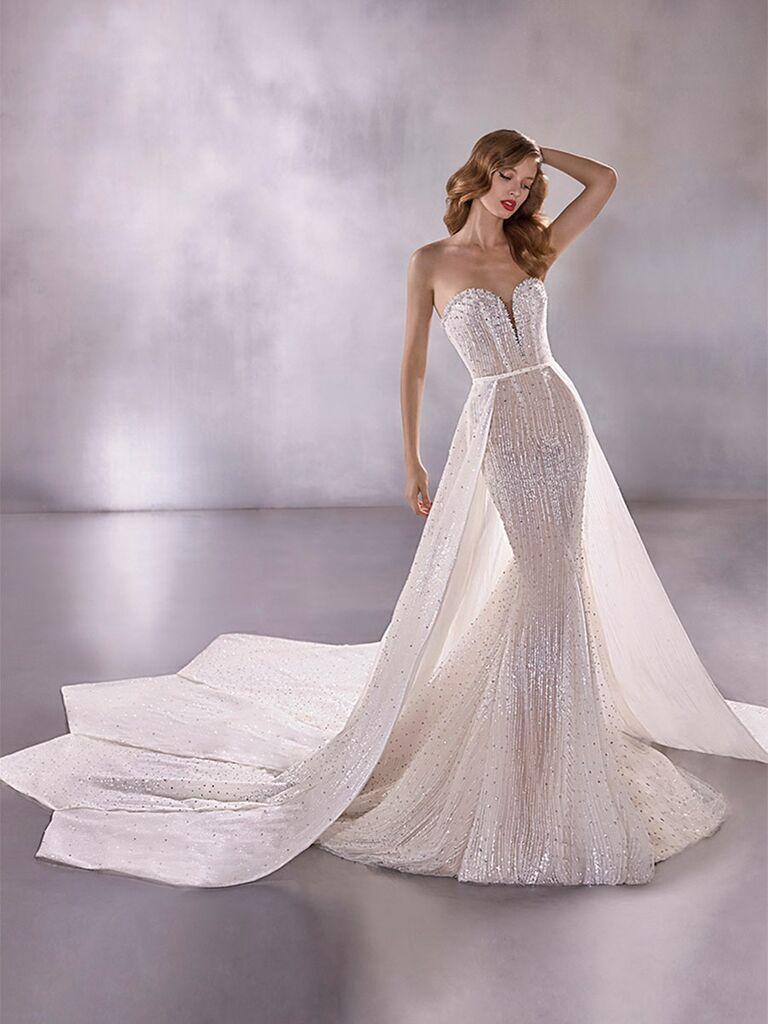 Atelier Provonias wedding dress strapless beaded mermaid gown with detachable train