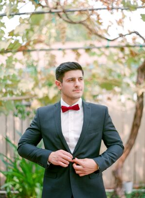 Dark Gray Suits With Colorful Bow Tie
