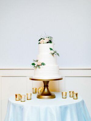 Classic Combed Buttercream Cake on Gold Cake Stand