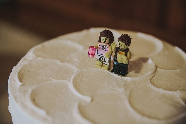 Creativity is showcased in many ways, including this Lego cake topper.