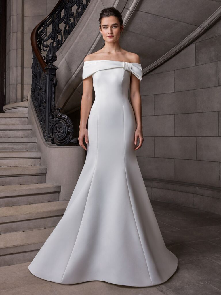 Sareh Nouri Spring 2020 Bridal Collection off-the-shoulder fit-and-flare wedding dress