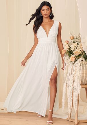 Lulus Heavenly Hues White Maxi Dress A-Line Wedding Dress