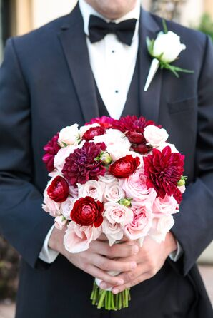 Pink Rose and Red Ranunculus Bouquet