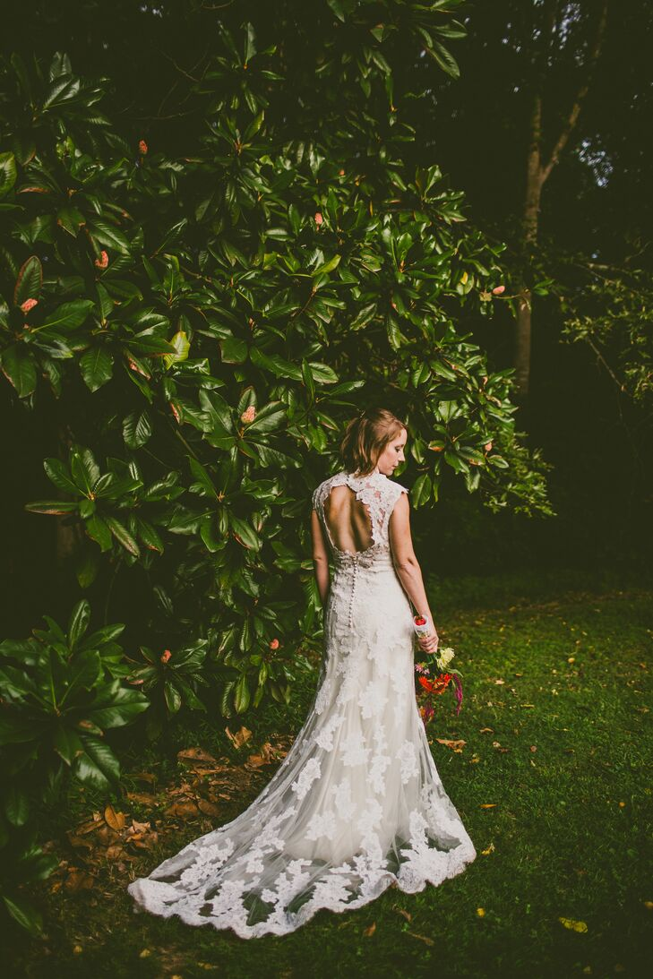 From a young age, Jessica knew exactly the kind of gown she wanted to walk down the aisle in. With an organic flow and feel, her fitted lace dress with dramatic open back for a twist on a the classic look.