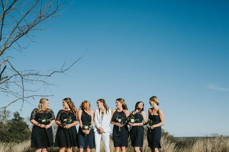 Mismatched Short Navy Lace Bridesmaid Dresses