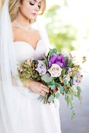 Purple, Green and Blush Bouquet of Roses, Eucalyptus and Ornamental Cabbage