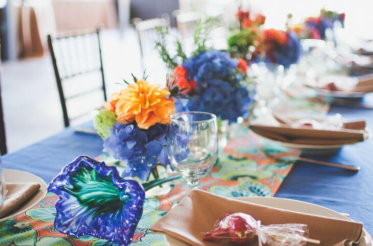 Bright Blue Floral Centerpieces