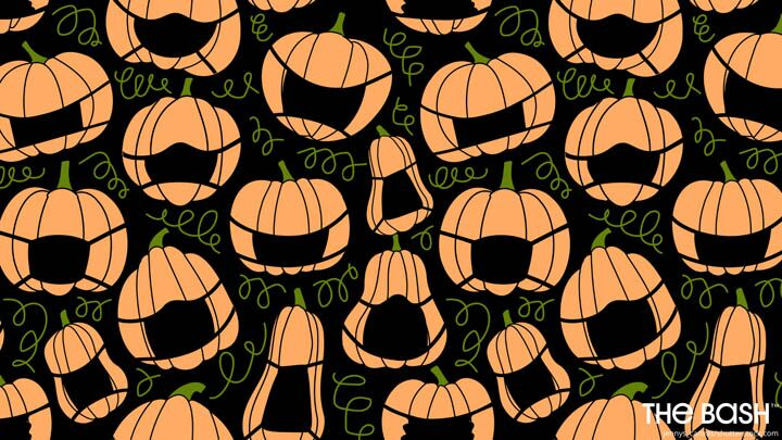 Halloween Zoom Background - Masked Pumpkins