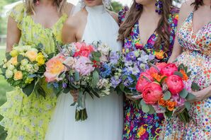 Colorful Mismatched Bridesmaids Dresses and Bouquets