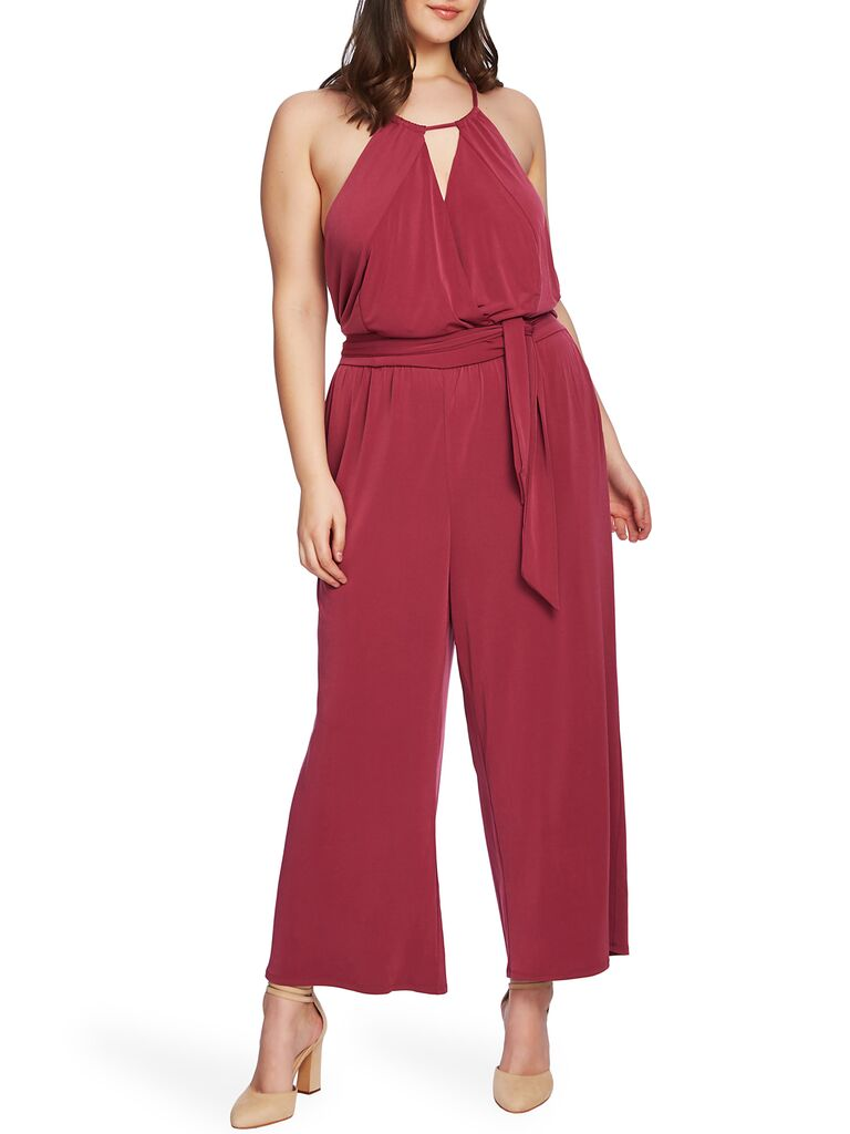 Red bow bridesmaid jumpsuit plus size