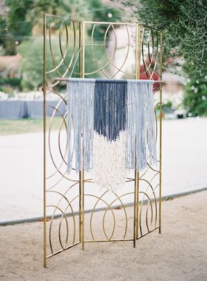 Blue Macramé Wall Hanging and Art Deco Screen