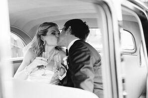 Katie and Nick in Vintage Exit Car
