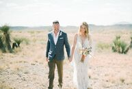 "After deciding to wed in Texas, Jasmin Arpin and Seth Stidham planned a ""minimalist yet chic High Desert event,"" the bride says. The ceremony took pla"
