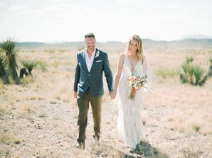 Rustic Desert Couple with Blue Suit Jacket and Formfitting Wedding Dress
