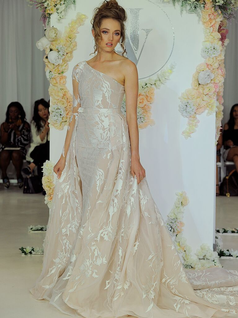Julie Vino Fall 2018 one-shoulder wedding dress with illusion sleeve