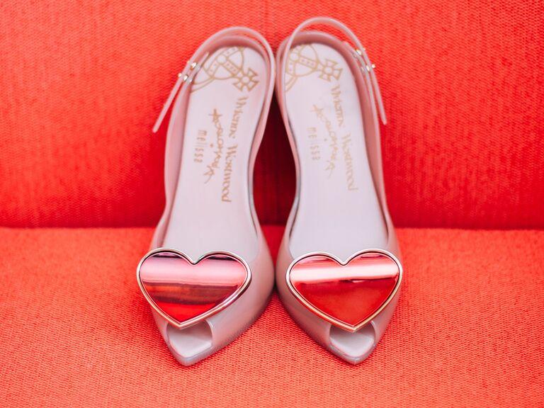 Valentine's Day wedding details heart-embellished shoes