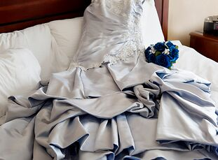 """Kerri (a wedding photographer) and Chris' (a web designer) wedding was decidedly blue. """"Blue is not only our favorite color, but it was also my nan's,"""