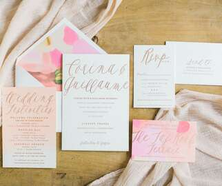 Pink watercolor wedding invitation stationery suite
