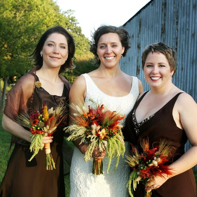 """Tatiana went fabric shopping with her mother so they could give out swatches to the bridal party and parents. They eventually opted for dark chocolate, light chocolate, and camel brown hues. """"They could mix and match those colors, or pick one solid color, whatever they were comfortable in,"""" the bride says. Her two attendants -- her sister and her best friend -- both chose deep brown gowns."""