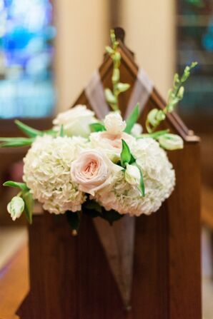 Hydrangea and Rose Church Pew Decor