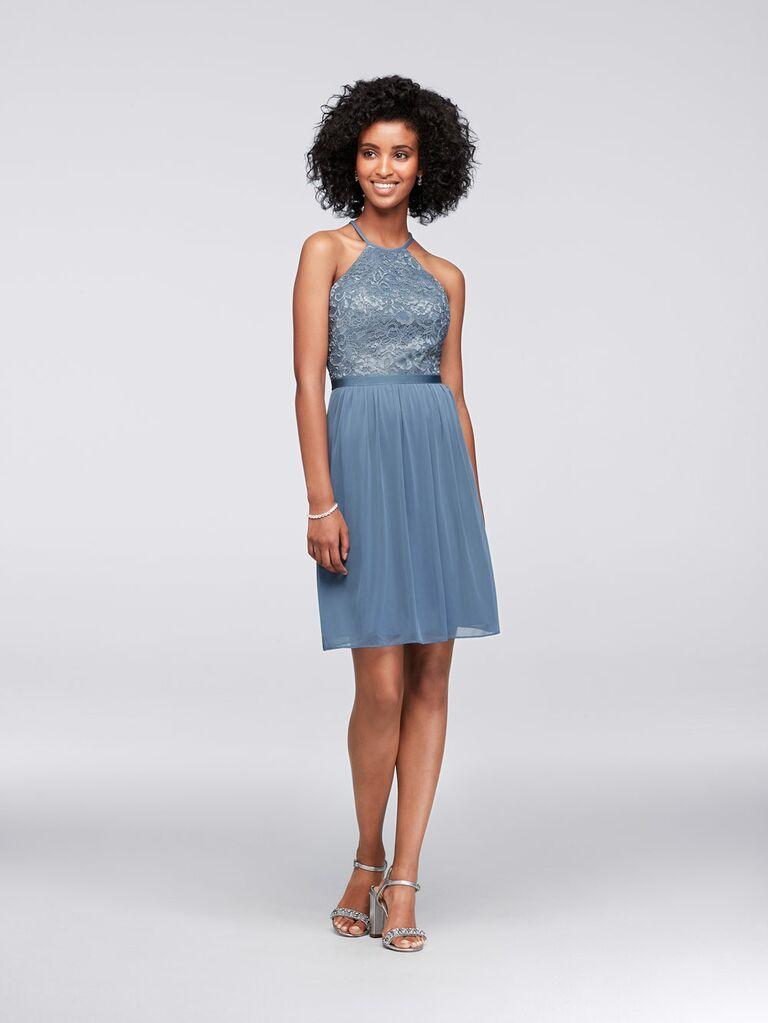 Short blue David's Bridal spring bridesmaid dress