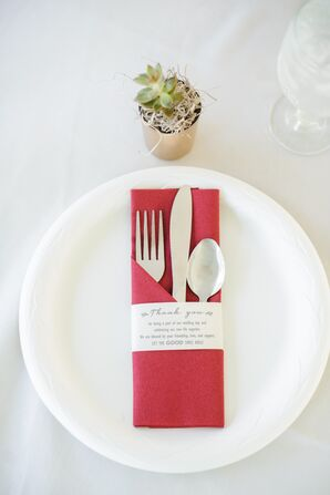 White Dinnerware with Red Napkins