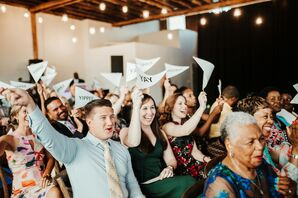Modern Guests with Paper Flags at Wedding Ceremony
