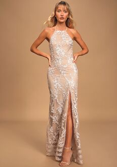 Lulus Dazzled Up Champagne Embroidered Backless Maxi Dress Bridesmaid Dress