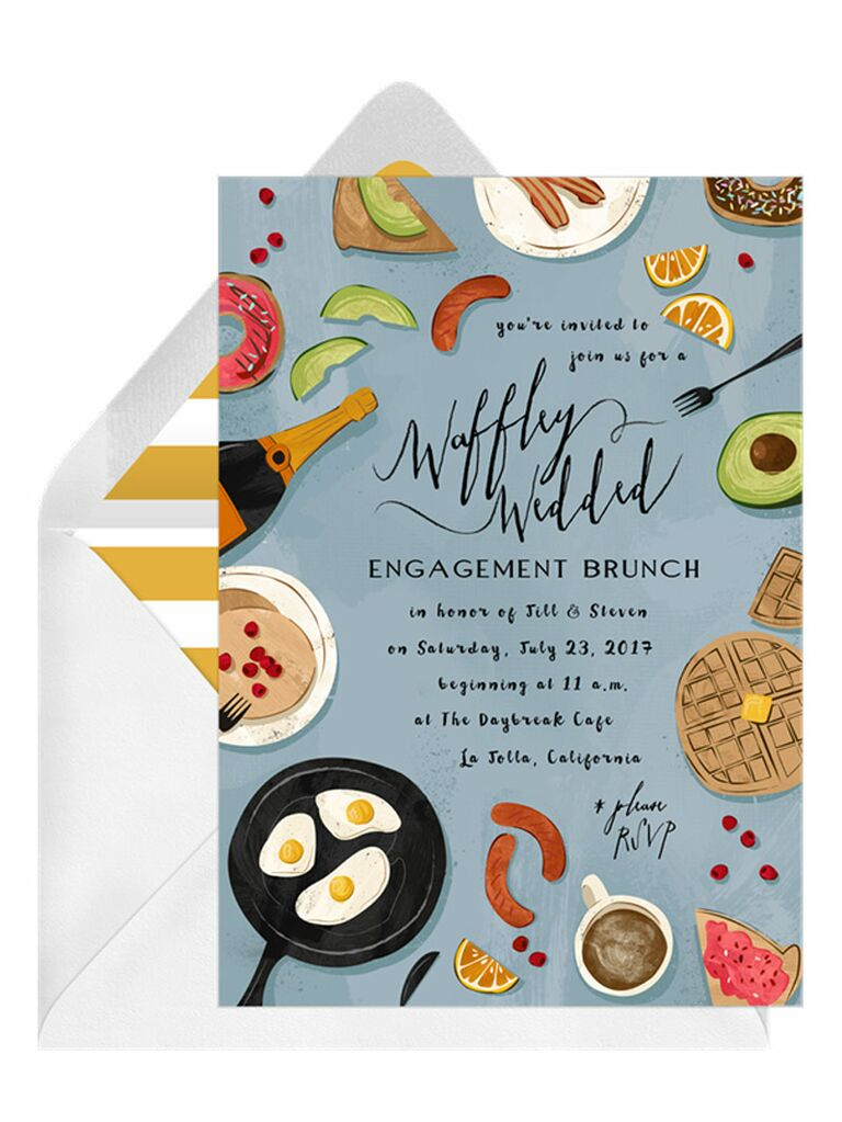 Cute brunch engagement party invitation