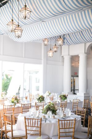 Blue and White Striped Reception Draping