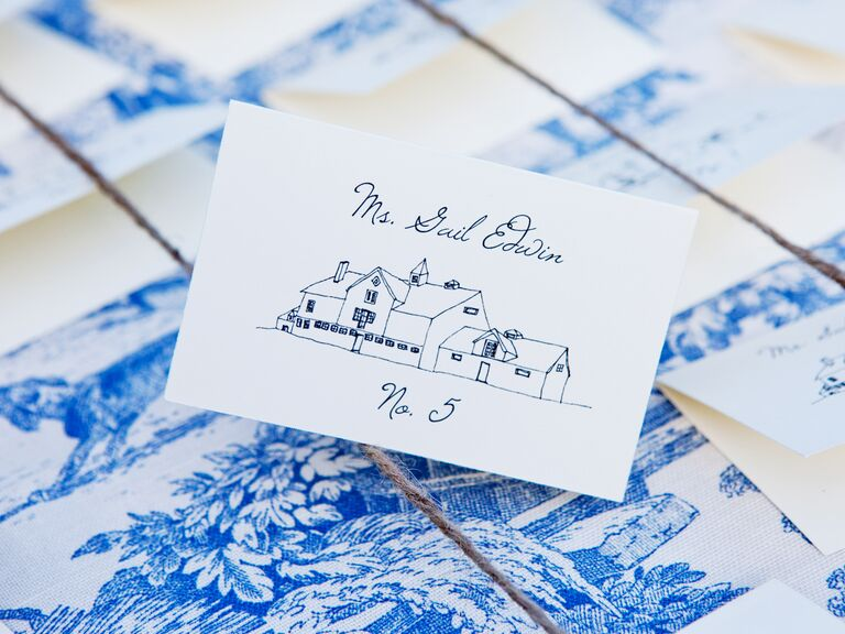 custom illustration wedding escort card - Wedding Escort Cards