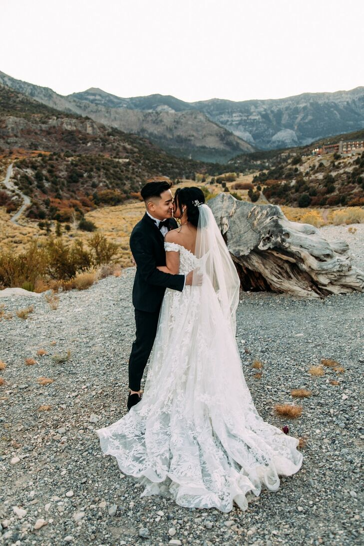 Modern Desert Couple with Whimsical Wedding Dress, Veil and Classic Tuxedo