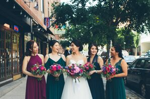 Mismatched Jewel-Tone Bridesmaid Dresses