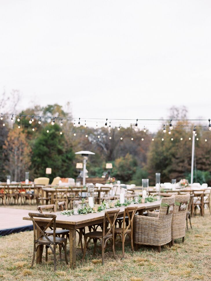 Rustic Farm Tables and Cross-Back Chairs