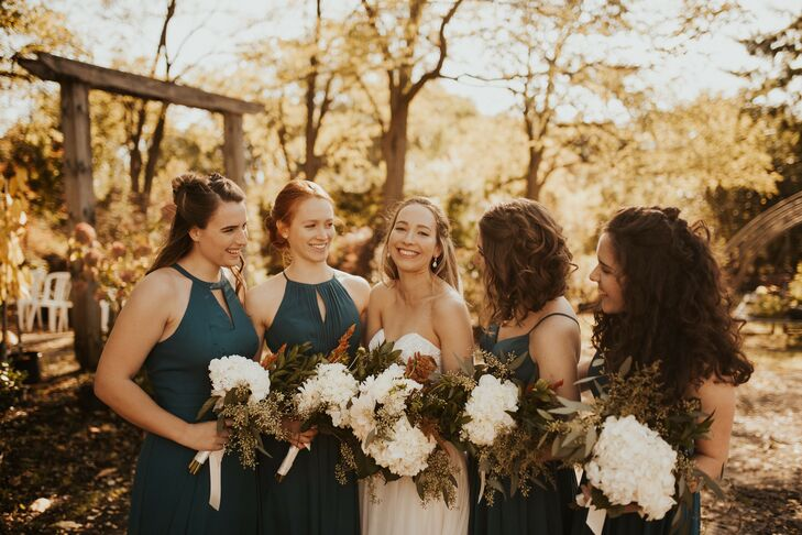 Bridesmaids with Blue Dresses and Bohemian Bouquets