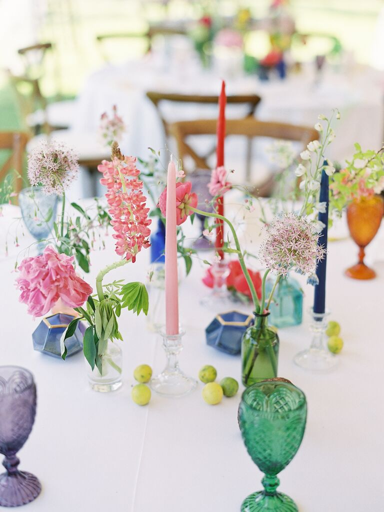 spring wedding centerpieces multi-colored candles