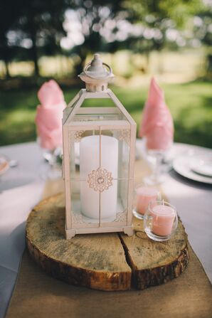 White Pillar-Candle-Filled Lantern Reception Decor