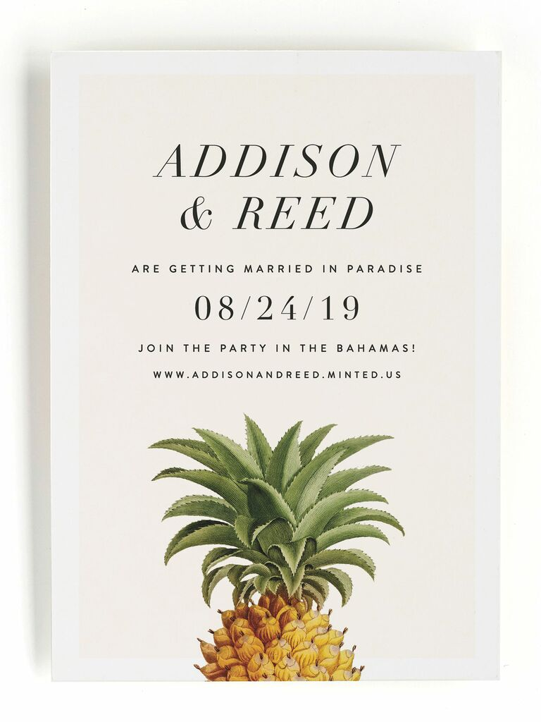 Minted pineapple destination wedding save-the-date