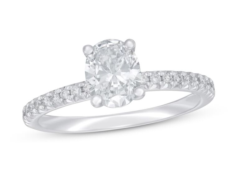 Oval lab grown diamond engagement ring