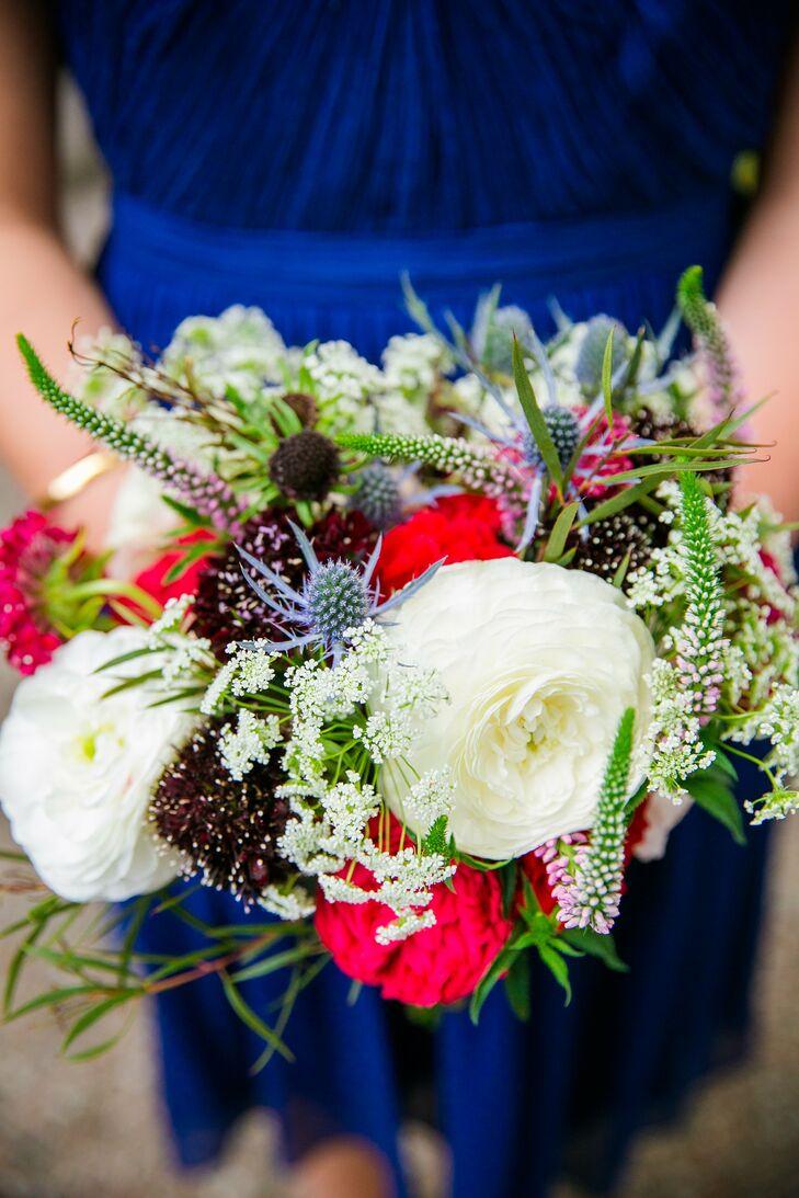 Textured Red, White, Blue Bridesmaid Wedding Bouquet